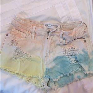 Multi color jean shorts